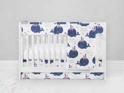 Bumperless Crib Set with Modern Skirt and Modern Rail Covers - Happy Whale