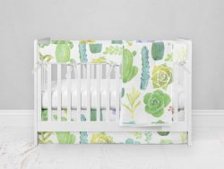 Bumperless Crib Set with Modern Skirt and Modern Rail Covers - Prickly