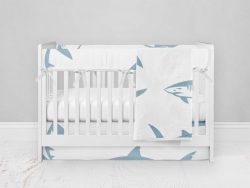 Bumperless Crib Set with Modern Skirt and Modern Rail Covers - Sharky