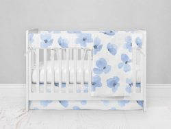Bumperless Crib Set with Modern Skirt and Modern Rail Covers - Blue Violet