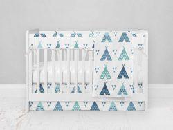 Bumperless Crib Set with Modern Skirt and Modern Rail Covers - Teal Teepee