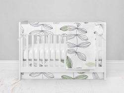 Bumperless Crib Set with Modern Skirt and Modern Rail Covers - Growing Up Inked