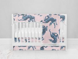 Bumperless Crib Set with Modern Skirt and Modern Rail Covers - Blue & Pink Tigers