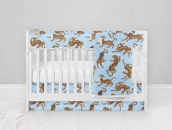Bumperless Crib Set with Modern Skirt and Modern Rail Covers - Blue & Yellow Tigers