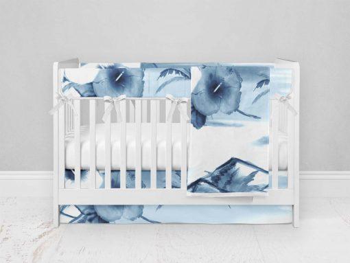 Bumperless Crib Set with Modern Skirt and Modern Rail Covers - Island Dreams