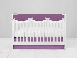 Bumperless Crib Set with Modern Skirt and Scalloped Rail Covers - Purple