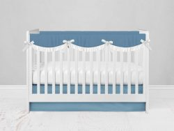 Bumperless Crib Set with Modern Skirt and Scalloped Rail Covers - Bright Blue