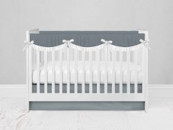 Bumperless Crib Set with Modern Skirt and Scalloped Rail Covers - Gray Green