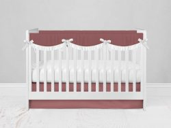 Bumperless Crib Set with Modern Skirt and Scalloped Rail Covers - Rose