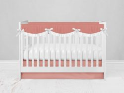 Bumperless Crib Set with Modern Skirt and Scalloped Rail Covers - Peach