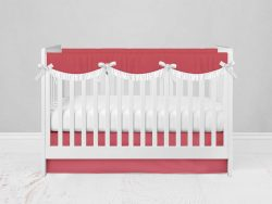 Bumperless Crib Set with Modern Skirt and Scalloped Rail Covers - Coral