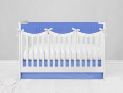 Bumperless Crib Set with Modern Skirt and Scalloped Rail Covers - Periwinkle