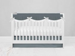 Bumperless Crib Set with Modern Skirt and Scalloped Rail Covers - Dark Gray