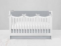 Bumperless Crib Set with Modern Skirt and Scalloped Rail Covers - Light Gray