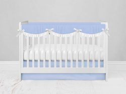 Bumperless Crib Set with Modern Skirt and Scalloped Rail Covers - Blue