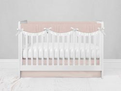 Bumperless Crib Set with Modern Skirt and Scalloped Rail Covers - Pink