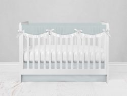 Bumperless Crib Set with Modern Skirt and Scalloped Rail Covers - Light Blue