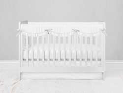 Bumperless Crib Set with Modern Skirt and Scalloped Rail Covers - White
