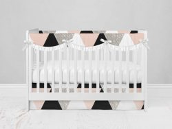 Bumperless Crib Set with Modern Skirt and Scalloped Rail Covers - Geo Check Pink