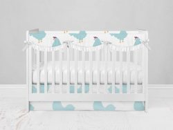 Bumperless Crib Set with Modern Skirt and Scalloped Rail Covers - Chicken Chick
