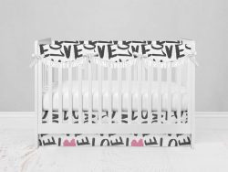 Bumperless Crib Set with Modern Skirt and Scalloped Rail Covers - Love Everywhere