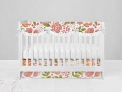 Bumperless Crib Set with Modern Skirt and Scalloped Rail Covers - Coral Flowers