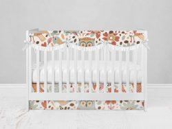 Bumperless Crib Set with Modern Skirt and Scalloped Rail Covers - Owl Folk