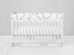 Bumperless Crib Set with Modern Skirt and Scalloped Rail Covers - Starlight
