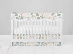 Bumperless Crib Set with Modern Skirt and Scalloped Rail Covers - Wall Flower
