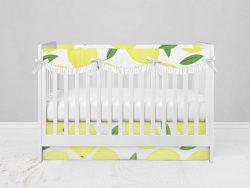 Bumperless Crib Set with Modern Skirt and Scalloped Rail Covers - Lively Lemons