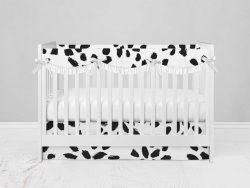 Bumperless Crib Set with Modern Skirt and Scalloped Rail Covers - Spotted Dottie