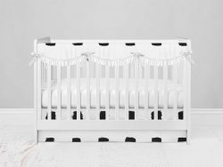 Bumperless Crib Set with Modern Skirt and Scalloped Rail Covers - Checked