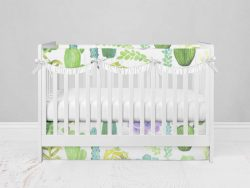 Bumperless Crib Set with Modern Skirt and Scalloped Rail Covers - Prickly