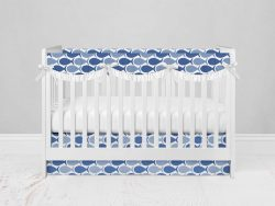Bumperless Crib Set with Modern Skirt and Scalloped Rail Covers - FishFishFish