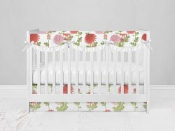 Bumperless Crib Set with Modern Skirt and Scalloped Rail Covers - Bright Blooms