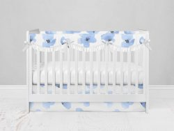 Bumperless Crib Set with Modern Skirt and Scalloped Rail Covers - Blue Violet