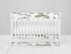 Bumperless Crib Set with Modern Skirt and Scalloped Rail Covers - Growing Up Inked
