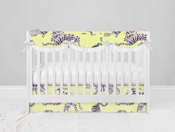Bumperless Crib Set with Modern Skirt and Scalloped Rail Covers - Blue & Orange Tigers
