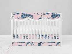 Bumperless Crib Set with Modern Skirt and Scalloped Rail Covers - Blue & Pink Tigers