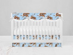 Bumperless Crib Set with Modern Skirt and Scalloped Rail Covers - Blue & Yellow Tigers
