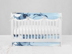 Bumperless Crib Set with Modern Skirt and Scalloped Rail Covers - Island Dreams