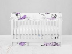 Bumperless Crib Set with Modern Skirt and Scalloped Rail Covers - Dancer