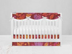 Bumperless Crib Set with Modern Skirt and Scalloped Rail Covers - Bold Flower
