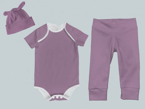 Everyday Set with Onesie, Joggers and Knotted Hat - Purple