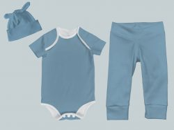 Everyday Set with Onesie, Joggers and Knotted Hat - Bright Blue