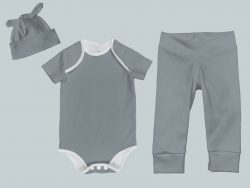 Everyday Set with Onesie, Joggers and Knotted Hat - Gray Green