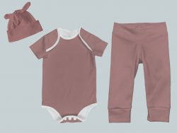 Everyday Set with Onesie, Joggers and Knotted Hat - Rose