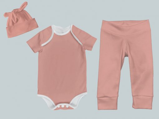 Everyday Set with Onesie, Joggers and Knotted Hat - Peach