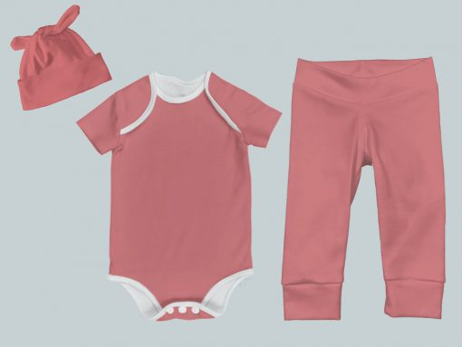 Everyday Set with Onesie, Joggers and Knotted Hat - Coral