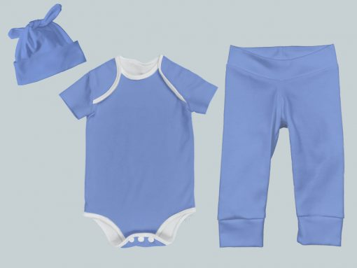 Everyday Set with Onesie, Joggers and Knotted Hat - Periwinkle